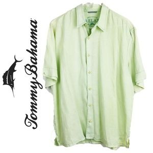 Tommy Bahama Relax Linen Lime Green Camp Shirt XL